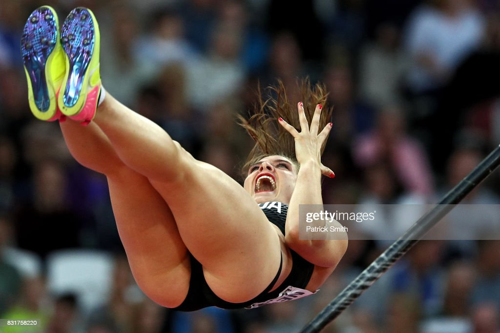 Alysha Newman of Canada reacts as she competes in the Women's Pole Vault final during day three of the 16th IAAF World Athletics Championships London 2017 at The London Stadium on August 6, 2017 in London, United Kingdom.