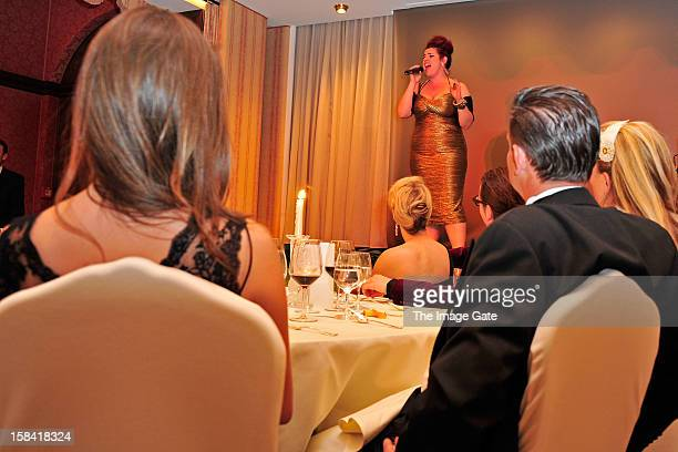 Alysha Umphress performs during the ASMALLWORLD Gala Dinner for Alzheimer Society at the Gstaad Palace Hotel on December 15 2012 in Gstaad Switzerland