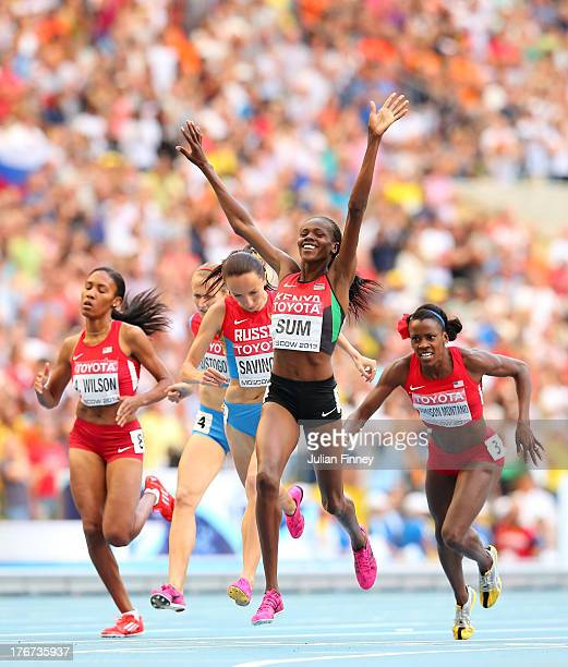 Alysia Johnson Montano of the United States falls over at the line AS Eunice Jepkoech Sum of Kenya crosses the line to win gold in the Women's 800...