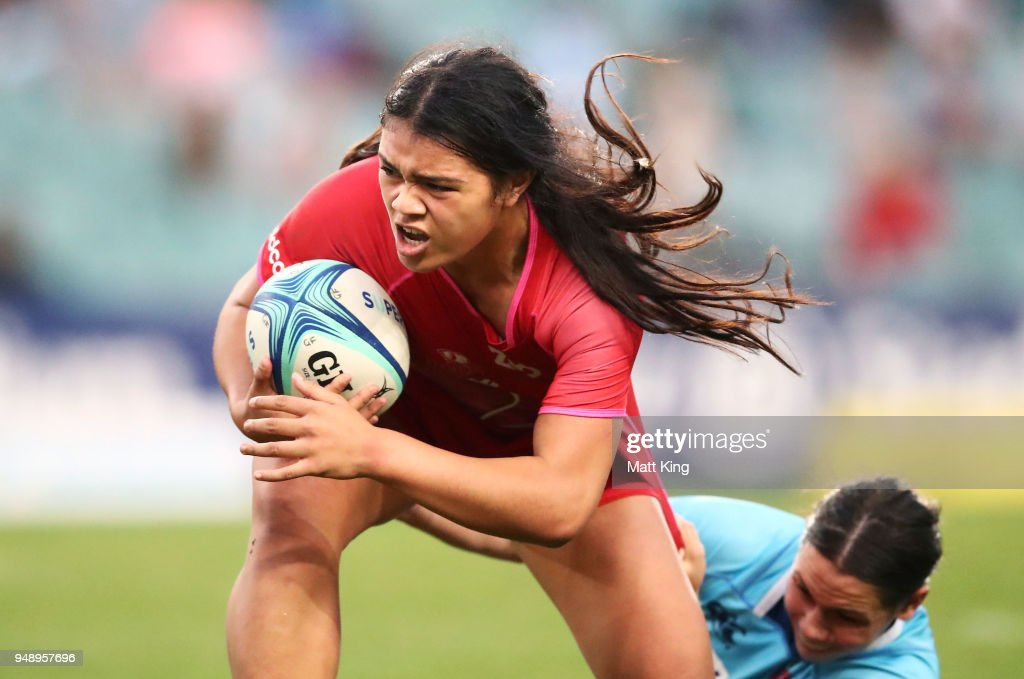 Alysia Lefau-Fakaosilea of Queensland is tackled during the Super W Grand Final match between the the New South Wales Women and the Queensland Women at Allianz Stadium on April 20, 2018 in Sydney, Australia.