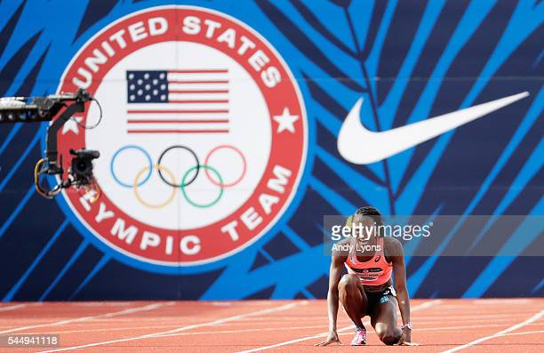 Alysia Montano falls to the track in the Women's 800 Meter Final during the 2016 U.S. Olympic Track & Field Team Trials at Hayward Field on July 4,...
