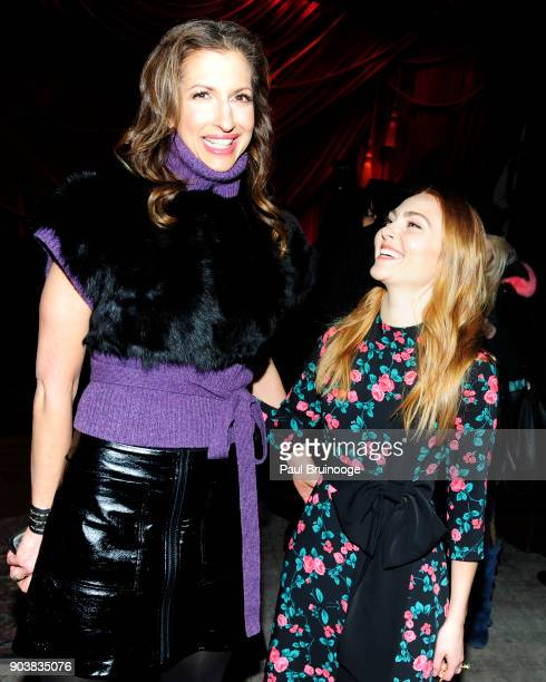 Alysia Reiner and AnnaSophia Robb attend The Cinema Society Bluemercury host the after party for IFC Films' 'Freak Show' at Public Arts on January 10...