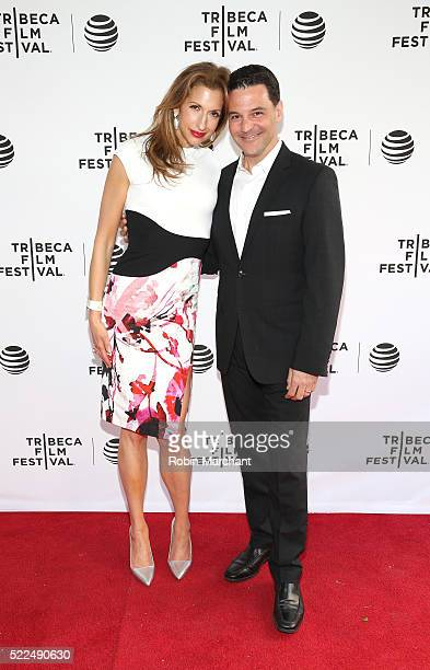 Alysia Reiner and David Alan Basche attend Tribeca Talks After The Movie Equity at SVA Theatre 2 on April 19 2016 in New York City