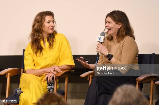 Alysia Reiner and Jeanne Tripplehorn speak onstage during Women Behind the Words at the 2018 Nantucket Film Festival - Day 4 on June 23, 2018 in...