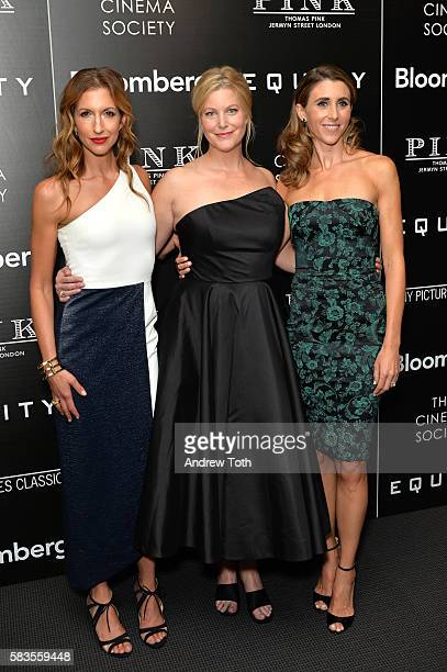 Alysia Reiner Anna Gunn and Sarah Megan Thomas attend a screening of Sony Pictures Classics' Equity hosted by The Cinema Society with Bloomberg and...