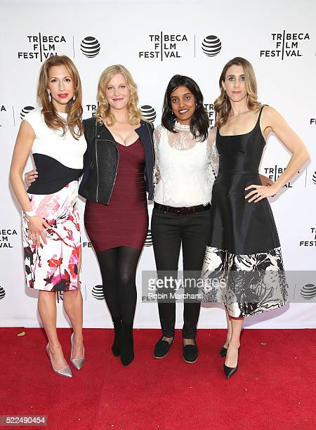 Alysia Reiner Anna Gunn Meera Menon and Sarah Megan Thomas attend Tribeca Talks After The Movie Equity at SVA Theatre 2 on April 19 2016 in New York...