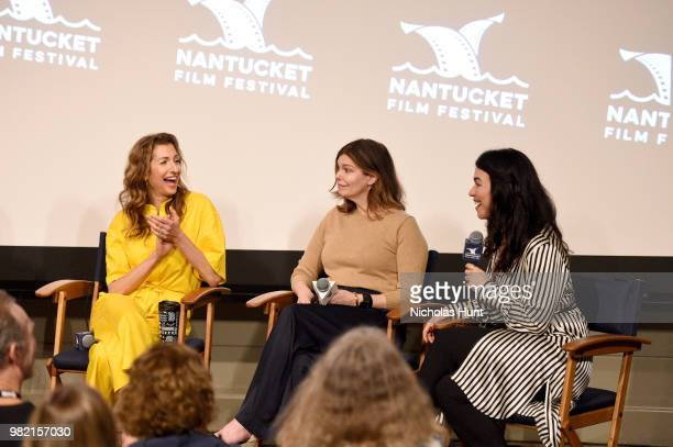 Alysia Reiner, Jeanne Tripplehorn and Sera Gamble speak onstage during Women Behind the Words at the 2018 Nantucket Film Festival - Day 4 on June 23,...