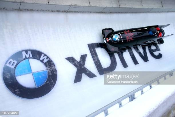 Alysia Rissling and Heather Moyse of Canada compete at Deutsche Post Eisarena Koenigssee during the BMW IBSF World Cup Women`s Bobsleigh World Cup on...