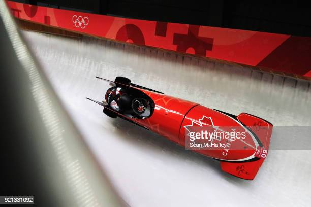 Alysia Rissling and Heather Moyse of Canada slide during the Women's Bobsleigh heats at the Olympic Sliding Centre on day eleven of the PyeongChang...
