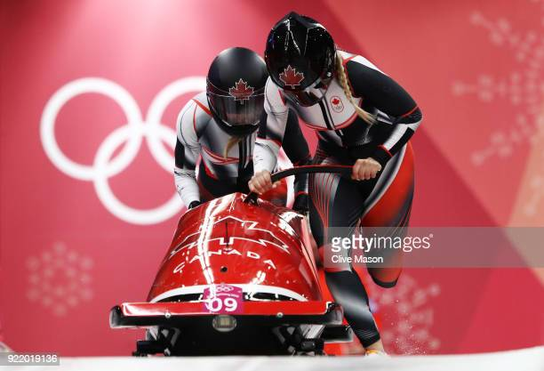 Alysia Rissling and Heather Moyse of Canada slide during the Women's Bobsleigh heats on day twelve of the PyeongChang 2018 Winter Olympic Games at...