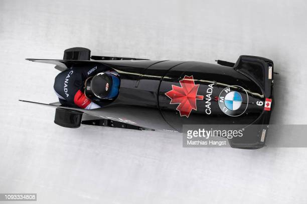 Alysia Rissling and Kristen Bujnowski of Canada compete during the BMW IBSF Women`s Bobsleigh World Cup and European Championships at Deutsche Post...