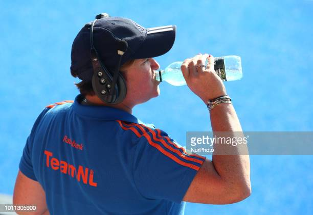 Alyson Annan Coach of Netherlands during FIH Hockey Women's World Cup 2018 Day 13 match Semi Final game 33 between Netherlands and Australia at Lee...