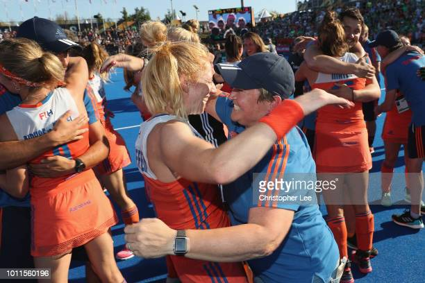 Alyson Annan of Netherlands celebrates their victory with Margot Van Geffen of Netherlands during the Final game between Netherlands and Ireland of...