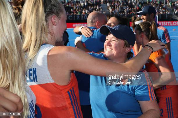 Alyson Annan of Netherlands celebrates their victory with Sanne Koolen of Netherlands during the Final game between Netherlands and Ireland of the...