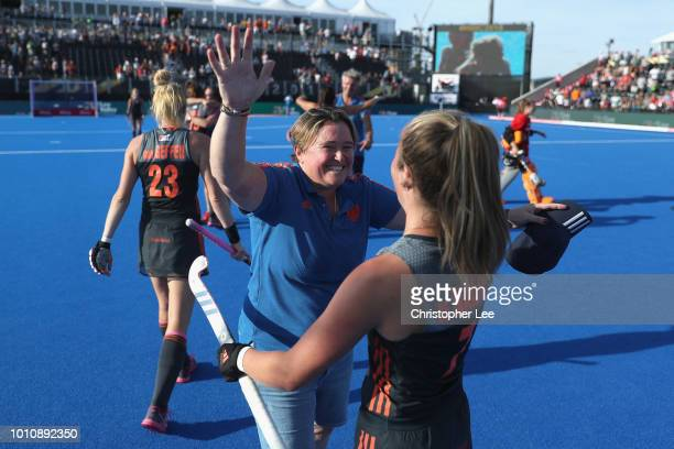 Alyson Annan of Netherlands celebrates their victory with Xan de Waard of Netherlands during the SemiFinal game between Netherlands and Australia of...