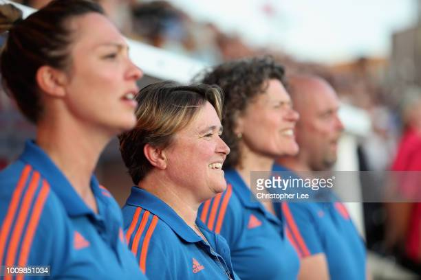 Alyson Annan of Netherlands during the national anthem during the Quarter Final game between Netherlands and England of the FIH Womens Hockey World...