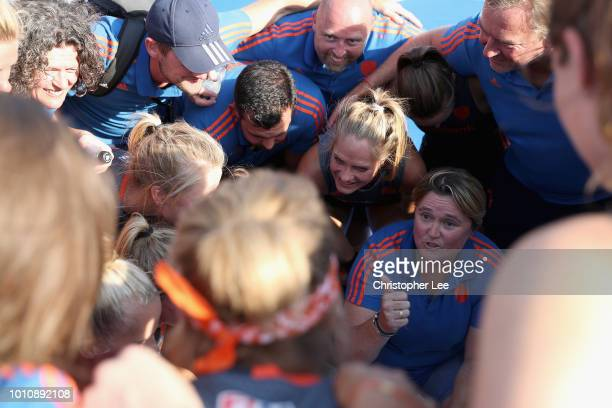Alyson Annan of Netherlands gives her players a thumbs up in the huddle after the match during the SemiFinal game between Netherlands and Australia...