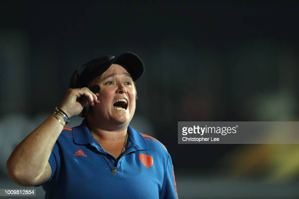 Alyson Annan of Netherlands shouts orders to her players during the Quarter Final game between Netherlands and England of the FIH Womens Hockey World...