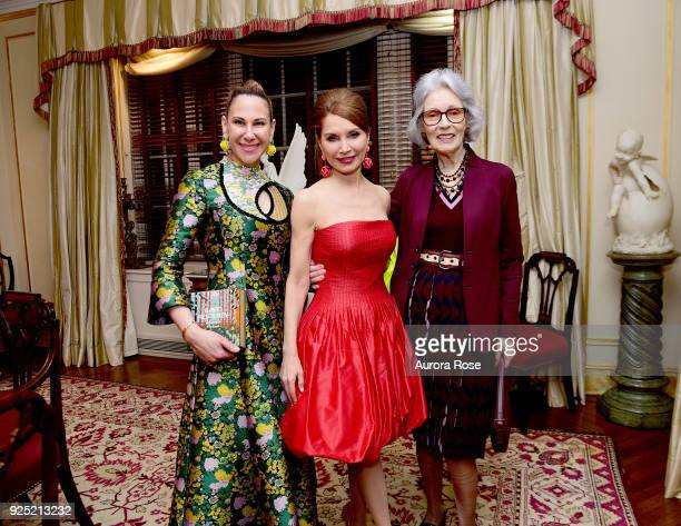 Alyson Cafiero Jean Shafiroff and Barbara Tober Pose at Jean Shafiroff's Annual Cocktail Party at Private Residence on February 27 2018 in New York...