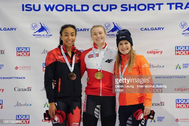 Alyson Charles of Canada Natalia Maliszewska of Poland and Yara van Kerkhof of the Netherlands pose with their medals after placing in the 500m...
