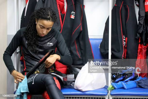 Alyson Charles of Canada prepares during the ISU Short Rack World Cup Day 1 at Kalyk Arena on December 8 2018 in Almaty Kazakhstan Photo by Christof...