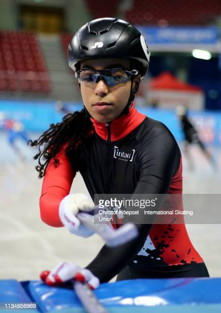 Alyson Charles of Canada prepares during the ISU World Short Track Speed Skating Championships Day 2 at Armeec Arena on March 09 2019 in Sofia...