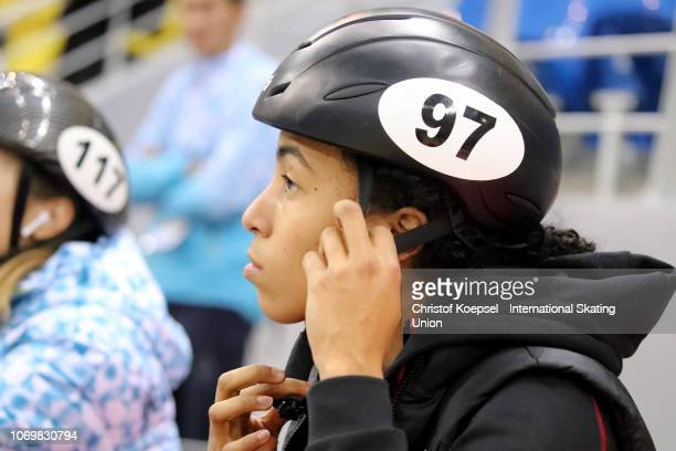 Alyson Charles of Canada prepares for the start during the ISU Short Track World Cup Day 1 at Halyk Arena on December 8 2018 in Almaty Kazakhstan...