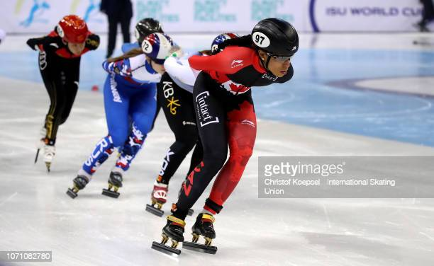 Alyson Charles of Canada skates in front during the ladies 1500 meter first semi final during the ISU Short Track World Cup Day 2 at Halyk Arena on...