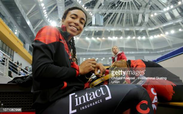 Alyson Charles of Canada smiles during the during the ladies 3000 meter relay final A race of the ISU Short Track World Cup Day 2 at Halyk Arena on...