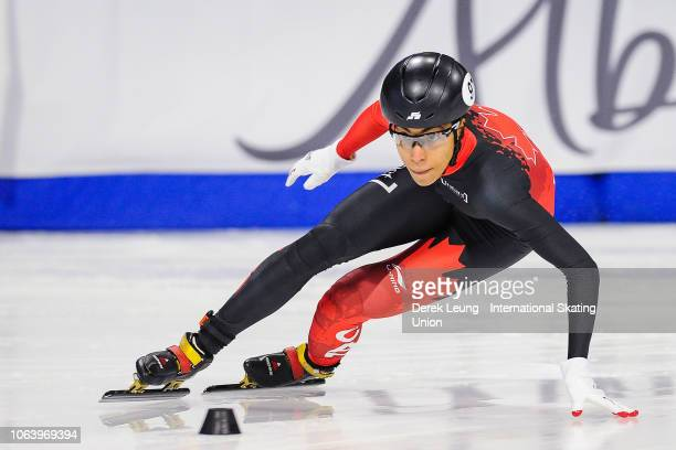 Alyson Charles skates during the ISU World Cup Short Track Calgary at the Olympic Oval on November 3 2018 in Calgary Alberta Canada Photo by Derek...