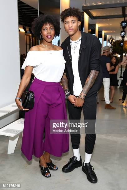 Alyson Furch and Kelly Oubre Jr attend the Todd Snyder fashion show during NYFW Men's July 2017 at Cadillac House on July 10 2017 in New York City