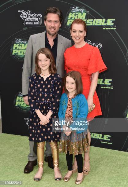 Alyson Hannigan and family attend the premiere of Disney Channel's 'Kim Possible' at The Television Academy on February 12 2019 in Los Angeles...