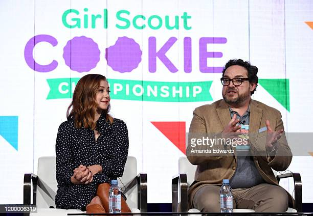 Alyson Hannigan and Nacho Aguirre of 'Girl Scout Cookie Championship' speak onstage during the Food Network portion of the Discovery Inc TCA Winter...