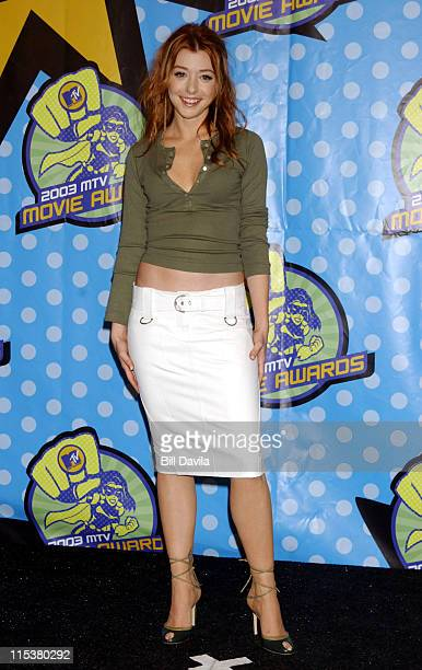 Alyson Hannigan during 2003 MTV Movie Awards Press Room at The Shrine Auditorium in Los Angeles California United States