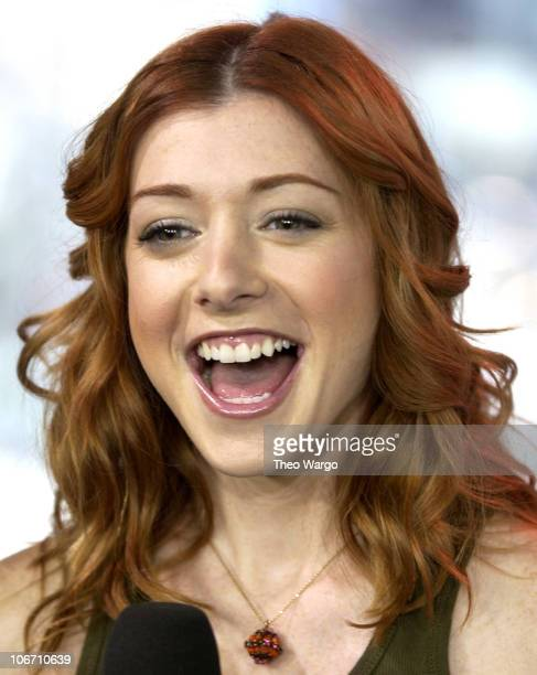 Alyson Hannigan during Alyson Hannigan Visits MTV's TRL to Promote Buffy the Vampire Slayer and the Next American Pie Movie October 1 2002 at MTV TRL...