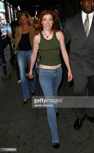 Alyson Hannigan during Alyson Hannigan Visits MTV's 'TRL' to Promote 'Buffy the Vampire Slayer' and the Next 'American Pie' Movie October 1 2002 at...
