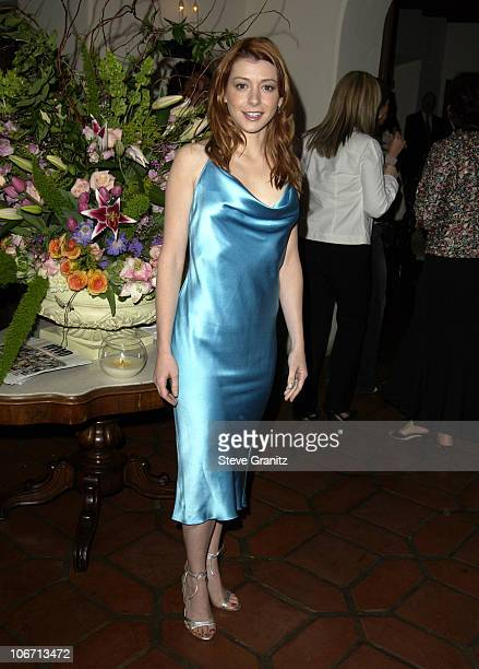 Alyson Hannigan during Women's Wear Daily The Ultimate Fashion Authority and Diamond Information Center Host 'Dazzling With Color and Dripping With...