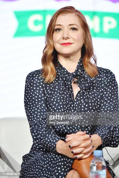 Alyson Hannigan of Girl Scout Cookie Championship speaks during the Food Network segment of the 2020 Winter TCA Press Tour at The Langham Huntington...