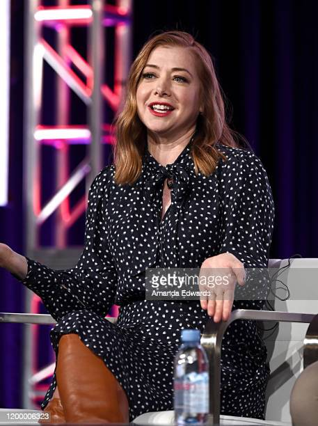 Alyson Hannigan of 'Girl Scout Cookie Championship' speaks onstage during the Food Network portion of the Discovery Inc TCA Winter Panel 2020 at The...