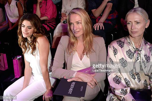 Alyson Le Borges Tatjana Patitz and Christiane Arp attend the Marc Cain Show during the MercedesBenz Fashion Week Spring/Summer 2014 at Brandenburg...