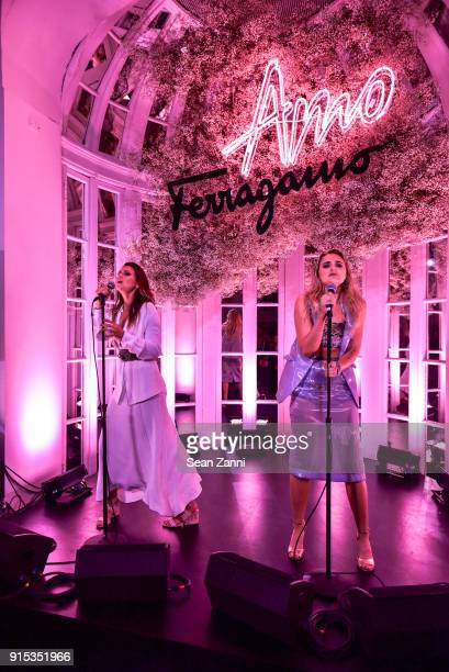 Alyson Michalka and Amanda Joy Michalka perform at Salvatore Ferragamo Suki Waterhouse celebrate AMO Ferragamo on February 6 2018 in New York City