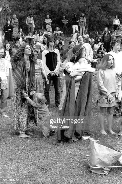 Alyson Nuit and others gather during an AntiWar Rally at Golden Gate Park circa April 1973 in San Francisco California