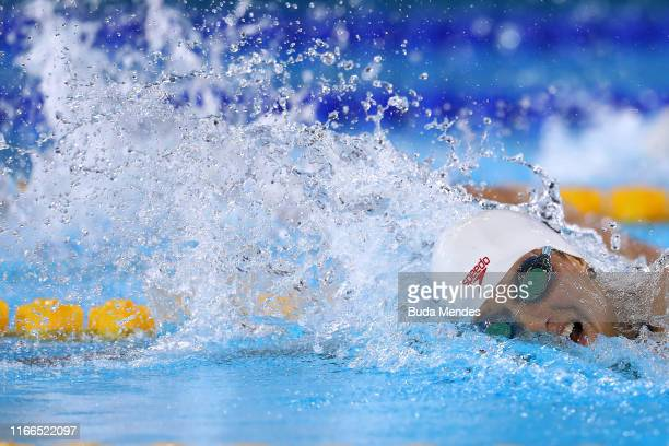 Alyson Patricia Ackman of Canada swims in Women's 400m Freestyle Final A at Aquatics Center of Villa Deportiva Nacional on Day 11 of Lima 2019 Pan...