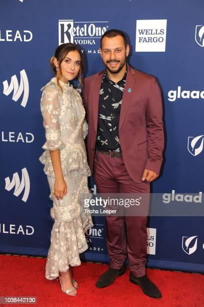 Alyson Stoner and Mathew Shurka arrive at the 2018 GLAAD Gala San Francisco at Hyatt Regency San Francisco on September 15 2018 in San Francisco...