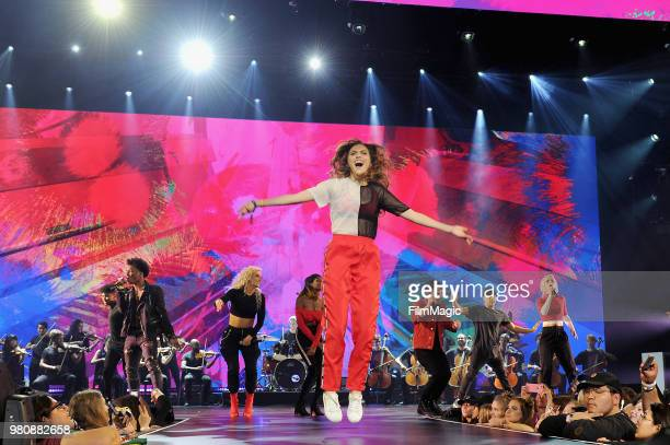 Alyson Stoner appears at YouTube OnStage during VidCon at the Anaheim Convention Center Arena on June 21 2018 in Anaheim California