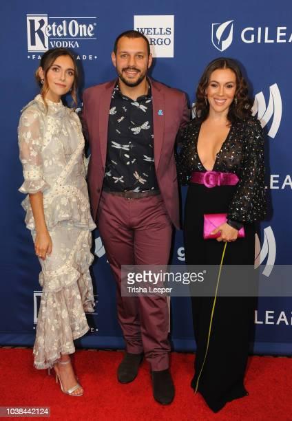 Alyson Stoner Mathew Shurka and Alyssa Milano arrive at the 2018 GLAAD Gala San Francisco at Hyatt Regency San Francisco on September 15 2018 in San...