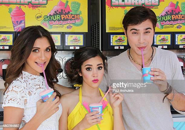 Alyson Stoner Megan Nicole and Ryan McCartan attend the event to celebrate 7Eleven Slurpee Day at 7Eleven on July 10 2015 in Burbank California