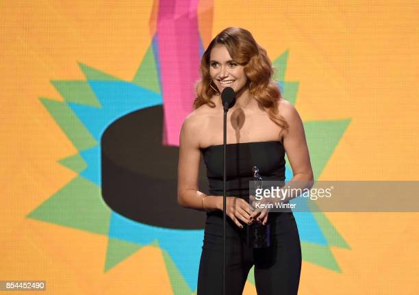 Alyson Stoner speaks onstage during the 2017 Streamy Awards at The Beverly Hilton Hotel on September 26 2017 in Beverly Hills California