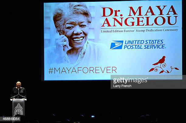 Alyson Williams speaks at the Maya Angelou Forever Stamp Dedication at the Warner Theatre on April 7 2015 in Washington DC