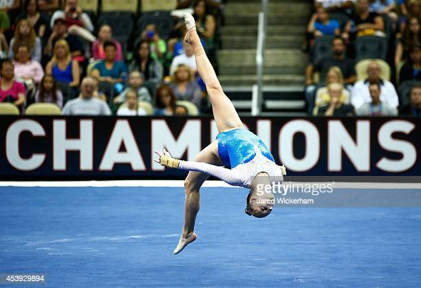 Alyssa Baumann competes in the floor exercise of the senior women preliminaries during the 2014 PG Gymnastics Championships at Consol Energy Center...
